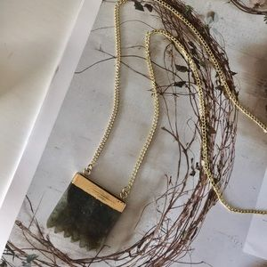 Jewelry - Brown Boulder Opal Boho Pendant Necklace in Gold